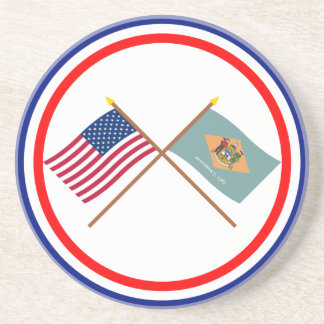 米国およびデラウェア州によって交差させる旗 コースター