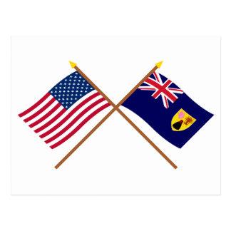 米国およびトルコ人及びCaicosによって交差させる旗 ポストカード