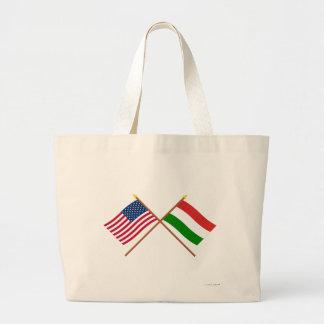 米国およびハンガリーによって交差させる旗 ラージトートバッグ