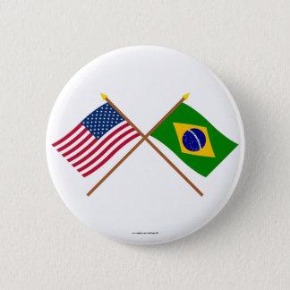 米国およびブラジルによって交差させる旗 5.7CM 丸型バッジ