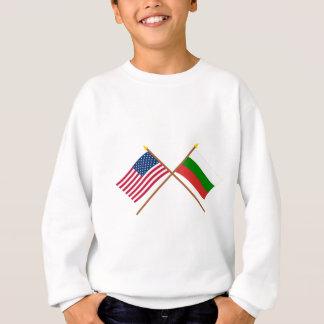 米国およびブルガリアによって交差させる旗 スウェットシャツ