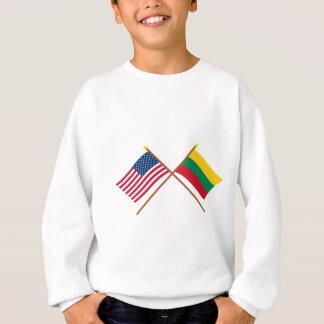 米国およびリスアニアによって交差させる旗 スウェットシャツ