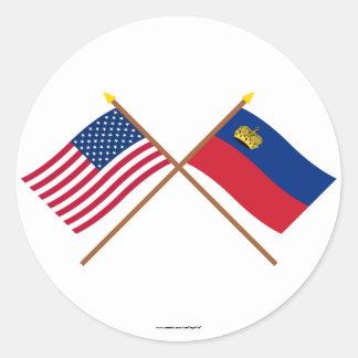 米国およびリヒテンシュタインによって交差させる旗 ラウンドシール