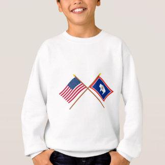 米国およびワイオミングによって交差させる旗 スウェットシャツ