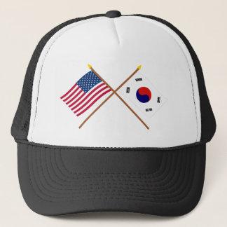 米国および南朝鮮の交差させた旗 キャップ