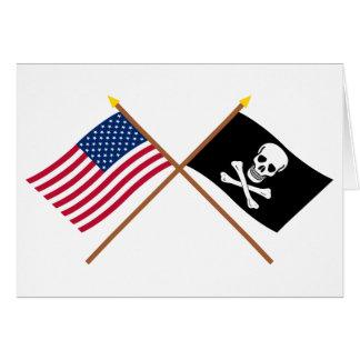 米国および海賊によって交差させる旗 カード
