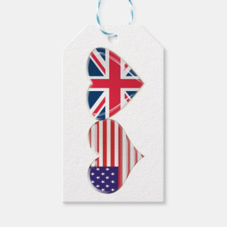 米国および英国国旗のハートのギフトのラベル ギフトタグ