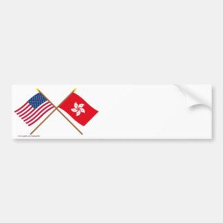 米国および香港によって交差させる旗 バンパーステッカー