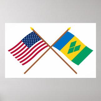 米国およびStのヴィンチェンツォによって交差させる旗 ポスター