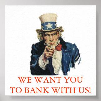 米国が付いている銀行 ポスター
