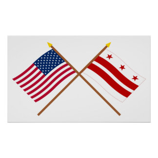 米国そしてコロンビア特別区は旗を交差させました ポスター