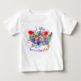 米国で生まれて下さい! 新しいペンキの版 ベビーTシャツ