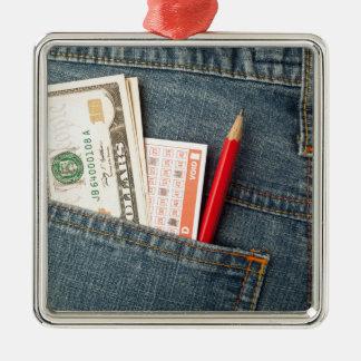 米国のお金および宝くじの賭はポケットでスリップまたは滑ること メタルオーナメント