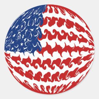 米国のすごい旗 ラウンドシール