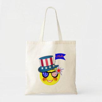 米国のアメリカ人のEmojiのテーマのお祝いのグラフィック トートバッグ