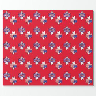 米国のイギリスの旗の包装紙-赤 ラッピングペーパー