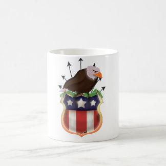 米国のイヌワシの星条旗の頂上 コーヒーマグカップ