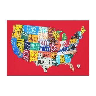 米国のキャンバスプリント48x32 v2のナンバープレートの地図 キャンバスプリント