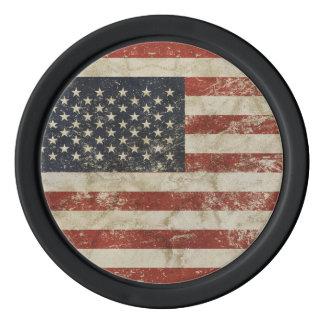 米国のグランジな旗が付いている粘土のポーカー用のチップ カジノチップ