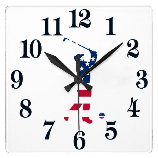 米国のゴルフアメリカの旗のゴルファー スクエア壁時計