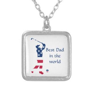 米国のゴルフ米国旗のゴルファー シルバープレートネックレス