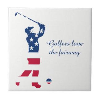 米国のゴルフ米国旗のゴルファー タイル