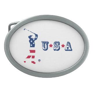 米国のゴルフ米国旗のゴルファー 卵形バックル