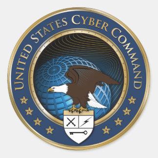 米国のサイバー命令ステッカー ラウンドシール