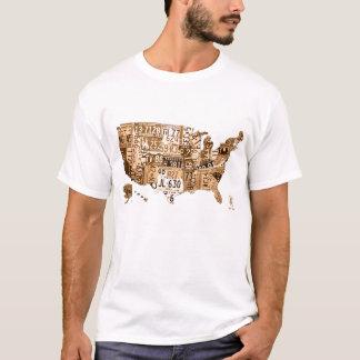 米国のセピア色の調子のTシャツのナンバープレートの地図 Tシャツ