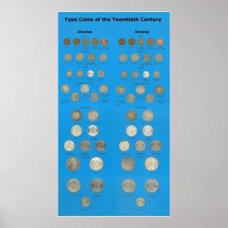 米国のタイプ硬貨 ポスター