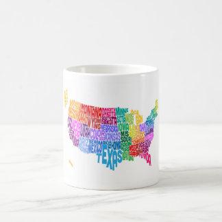 米国のタイポグラフィの文字地図 コーヒーマグカップ
