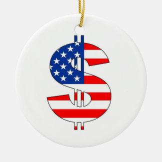 米国のドルの記号のお金の印 セラミックオーナメント