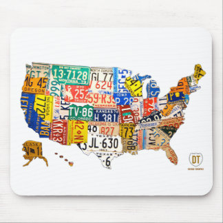米国のナンバープレートの地図のマウスパッド マウスパッド