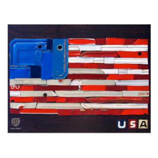 米国のナンバープレートの芸術の旗の郵便はがき ポストカード