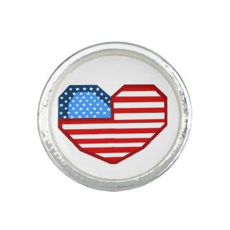 米国のハートの旗のリング 指輪