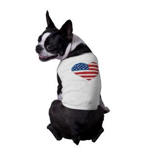 米国のハートの旗の小犬のTシャツ ペット服