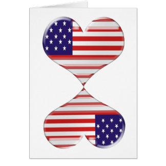 米国のハートの旗の芸術のギフトの接吻 カード