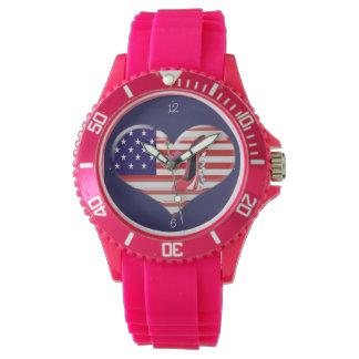 米国のハートの旗、小剣およびキスの腕時計 腕時計