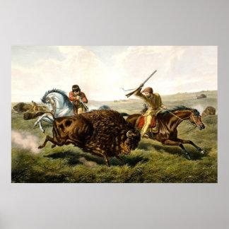 米国のバッファローの狩り ポスター