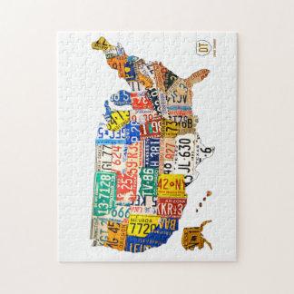 米国のパズルのナンバープレートの地図 ジグソーパズル