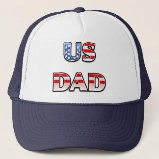 米国のパパは及びストライプなトラック運転手の帽子主演します キャップ