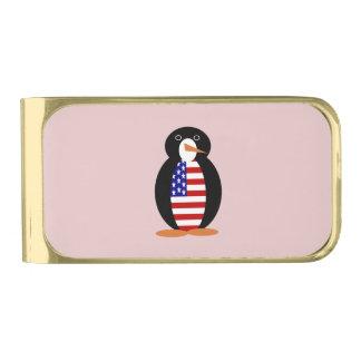 米国のペンギン -- アメリカのペンギン 金色 マネークリップ