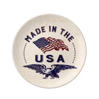 米国のヴィンテージのワシおよび旗で作られる 磁器プレート