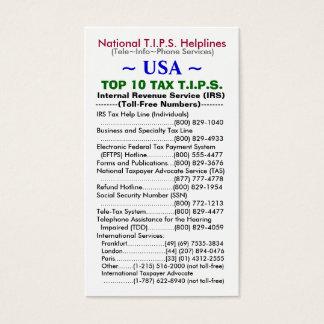 米国の上10税T.I.P.S.の悩み事相談電話のテンプレート 名刺