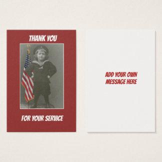 米国の兵士の軍の退役軍人の旗は感謝していしています 名刺