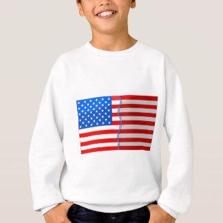 米国の分けられ、ステッチされたバックアップ スウェットシャツ