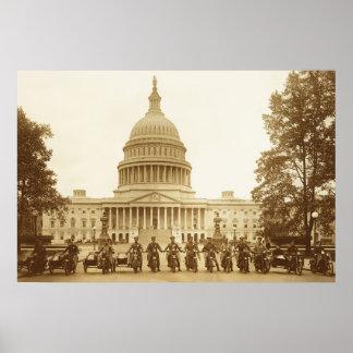 米国の国会議事堂のオートバイ警官 ポスター