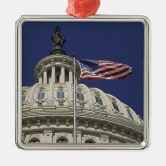 米国の国会議事堂、ワシントンD.C.、 シルバーカラー正方形オーナメント