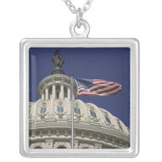 米国の国会議事堂、ワシントンD.C.、 シルバープレートネックレス
