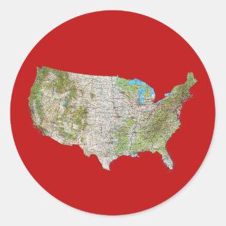 米国の地図のステッカー ラウンドシール